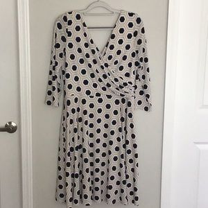 Whbm: Beige and black faux wrap dress 14